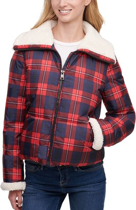 Levi's Women's Plaid Sherpa-Collar Quilted Puffer Jacket