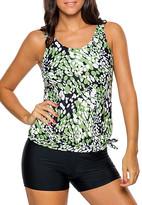 Zesica Women's Bikini Bottoms Greenish - Green Dewdrop Blouson Tankini Top & Boyshort Bottoms - Women & Plus