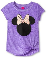 Minnie Mouse Girls' Minnie Mouse Side Tie Tee - Purple