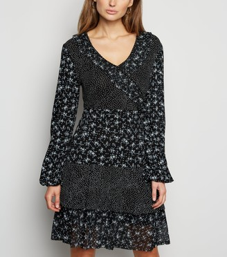 New Look Cameo Rose Ditsy Floral Spot Ruffle Dress