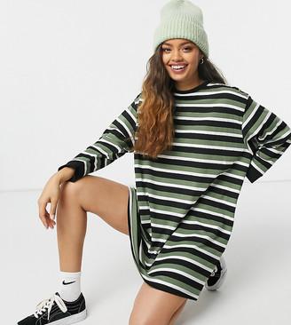 ASOS DESIGN Petite oversized long sleeve t-shirt dress in khaki stripe