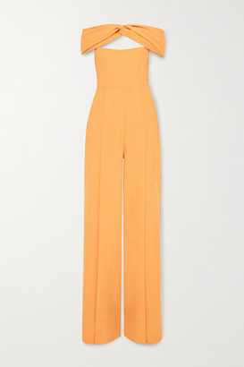 Emilia Wickstead Glenna Off-the-shoulder Cutout Wool-crepe Jumpsuit - Orange