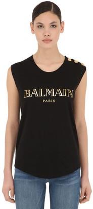 Balmain Logo Print Cotton Jersey Tank Top