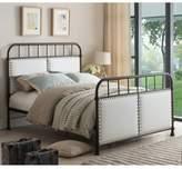 K&B Furniture Full Upholstered Metal Bed in Pewter