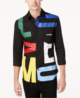 Love Moschino Men's Slim-Fit Colored Letters Shirt