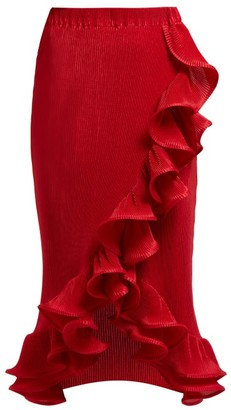 Romance Was Born Bloom Ruffled Plisse Midi Skirt - Dark Red