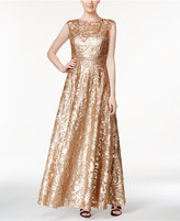 Calvin Klein Cap-Sleeve Sequined A-Line Gown