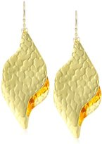 """Devon Leigh Bold """" 18k -Dipped Double Leaf Drop Earrings with 14k -Filled Chains"""