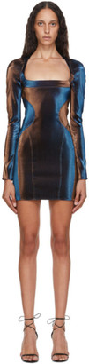 Thierry Mugler Blue and Brown Stretch Mini Dress