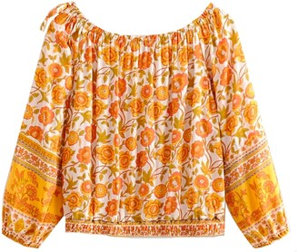 Goodnight Macaroon 'Parker' Yellow Floral Off The Shoulder Top