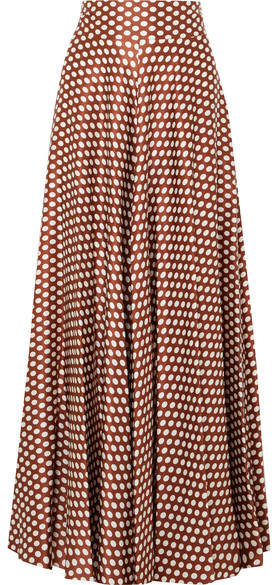 Diane von Furstenberg Polka-dot Silk-satin Maxi Skirt - Brown
