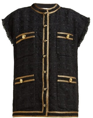 Gucci Single-breasted Boucle Tweed Sleeveless Jacket - Womens - Black Gold