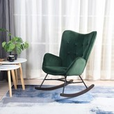 Channel Rocking Chair Hashtag Home Fabric: Green Velvet / Metal