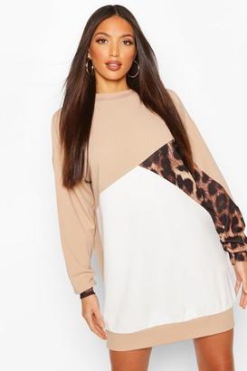 boohoo Tall Leopard Colour Block Sweat Dress