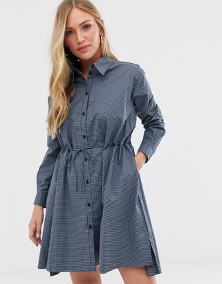 French Connection check draw string shirt dress-Blue