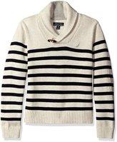 Nautica Little Boys Shawl Collar 'Rockport' Striped Sweater With Neck Toggle Closure