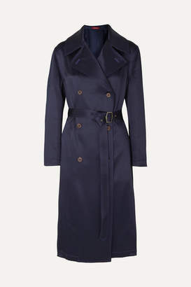 Sies Marjan Sigourney Double-breasted Satin-twill Trench Coat - Navy