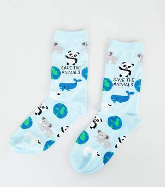 New Look Save The Animals Slogan Socks