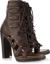 Cutout lace-up leather ankle boots