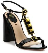Fendi Studded Patent Leather T-Strap Sandals
