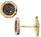 Effy Jewelry Effy Men's 14K Two-Tone Gold Black and White Diamond Cuff Links, 1.18 TCW