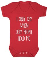 FLOSO Baby Girls/Boys I Only Cry When Ugly People Hold Me Short Sleeve Bodysuit (3-6 Months)