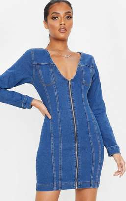 PrettyLittleThing Mid Wash Zip Front Bodycon Denim Dress