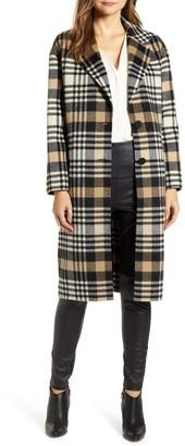 LAMARQUE Plaid Wool Blend Coat