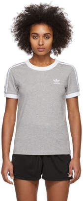 adidas Grey 3-Stripes T-Shirt