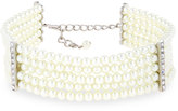 Kenneth Jay Lane Five-Row Pearly Beaded Collar Necklace, White