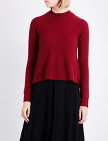 Rosetta Getty Stepped-hem ribbed-knit cashmere jumper