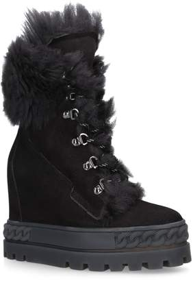 Casadei Faux Fur-Lined Boots