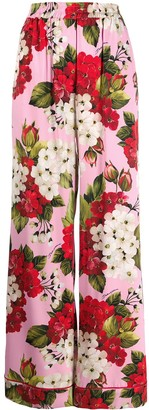 Dolce & Gabbana Floral Print High Waisted Trousers