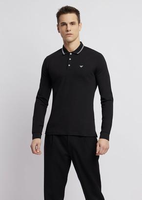 Emporio Armani Stretch Cotton Pique Polo Shirt With Long Sleeves
