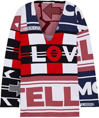 Stella McCartney Draped Wool-blend Jacquard Sweater