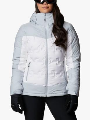 Columbia Wild Card Women's Waterproof Ski Down Jacket, White/Cirrus Grey