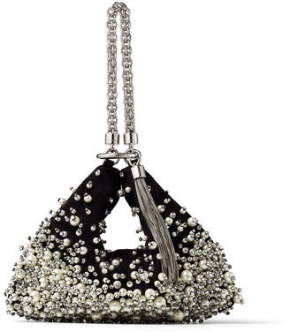 Jimmy Choo CALLIE Black Suede Clutch Bag with Degrade Pearl Embroidery
