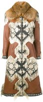 Alexander McQueen embroidered details leather coat