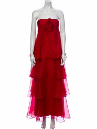 Marchesa Silk Long Dress Red