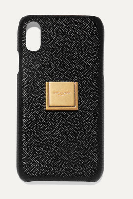 Saint Laurent Embellished Textured-leather Iphone Xr Case - Black