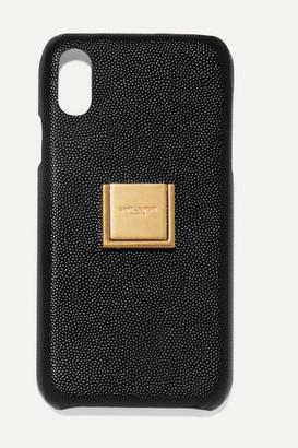 Saint Laurent Embellished Textured-leather Iphone Xr Case - Black