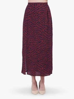 Lily & Lionel Grace Leopard Print Skirt, Winter Berry
