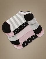Marks and Spencer 5 Pair Pack Supersoft Spotted Striped Trainer Liner Socks with Silver Technology