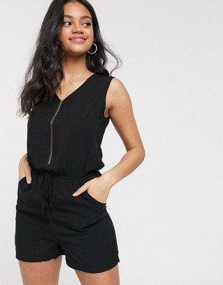Brave Soul playsuit with elasticated waist and zip front in black
