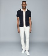 Reiss Roland - Striped Zip Through Polo in Navy