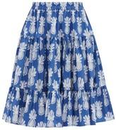 La DoubleJ Love Pineapple-print Cotton-poplin Skirt - Womens - Blue Print