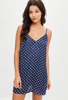 Missguided Navy Polka Dot Satin Slip Dress, Blue