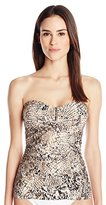 Calvin Klein Women's Brown Snake Bar Bandeau Tankini