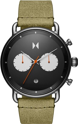 MVMT Blacktop Chronograph Leather Strap Watch, 47mm