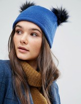 Helene Berman Double Pom Pom Pull On Beanie Hat